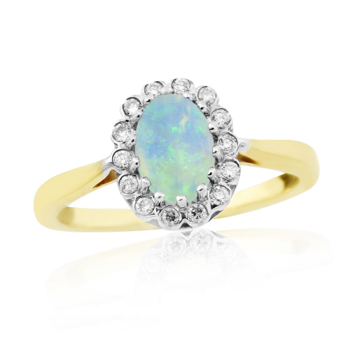 Oval Opal And Diamond Yellow Gold Cluster Ring